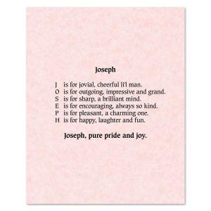 Parchment Pink Name Poem Print