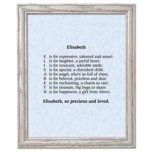 Parchment Blue Framed Name Poem Print