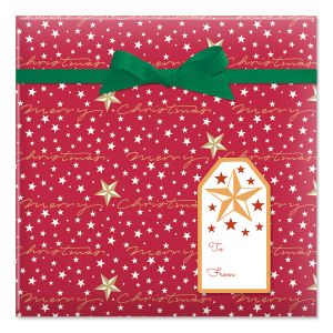 Starry Merry Jumbo Rolled Gift Wrap and Labels