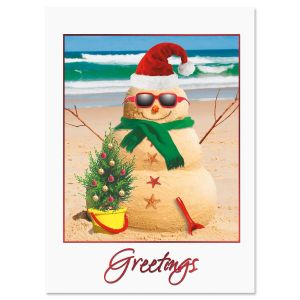 Holiday Sandman Nonpersonalized Deluxe Christmas Cards - Set of 14