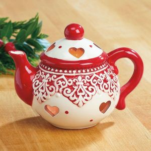 Red and White Ceramic Teapot Tealight Holder