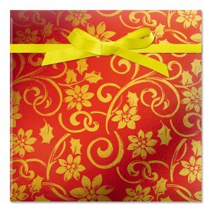 Red and Gold Swirls Foil Rolled Gift Wrap