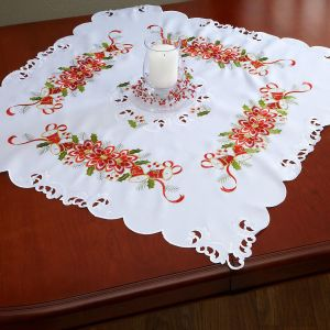 Poinsettias and Bells Table Linen