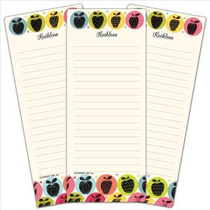 Geometric Apples Lined Shopping List Pads