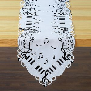 Music Notes Cutwork Table Runner