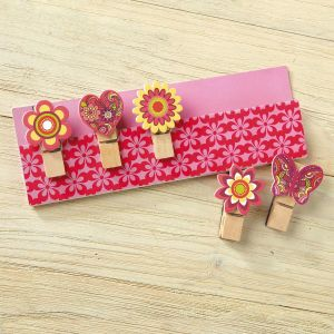 Butterfly & Flowers Clothespin Magnets