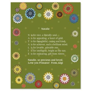 Daisy Flower Name Poem Print