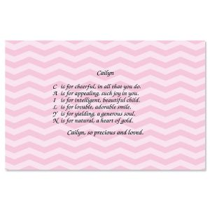 Chevron Pink Name Poem Placemat