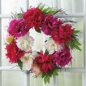 Peony Wreath on Twig Base