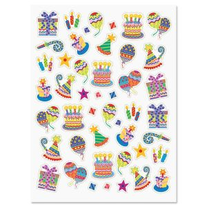 Colorful Celebration Birthday Stickers - BOGO