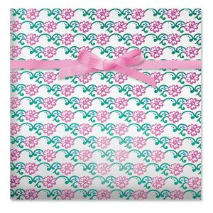 Shimmery Pink Roses Foil Gift Wrap