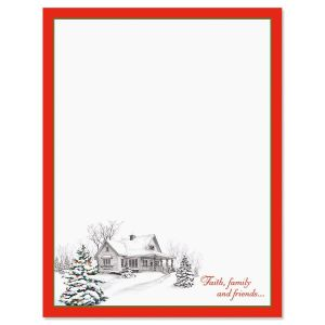 Winter Home Border Christmas Letter Papers