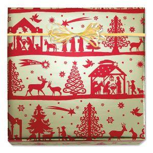 Bethlehem Silhouette Foil Rolled Gift Wrap