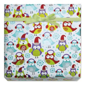 Flakey Owls Foil Rolled Gift Wrap