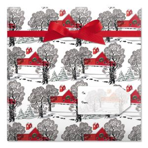 Country Christmas Jumbo Rolled Gift Wrap and Labels