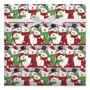 Snowman Gathering Jumbo Rolled Gift Wrap