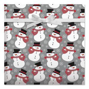 Smiling Snowmen Jumbo Rolled Gift Wrap