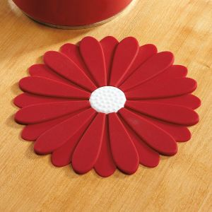 Red Silicone Flower Hot Pad Trivet