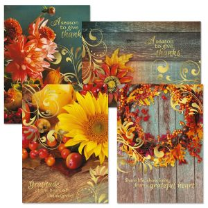 Deluxe Autumn Photo Thanksgiving Cards