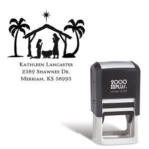 Nativity Square Self-Inking Address Stamp