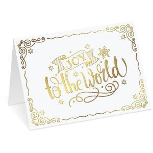 Joy to the World Nonpersonalized Deluxe Christmas Cards - Set of 14