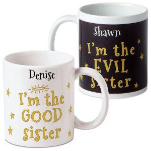 Good/Evil Personalized Sister Mug