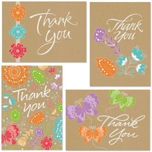 Kraft Floral Thank You Note Cards