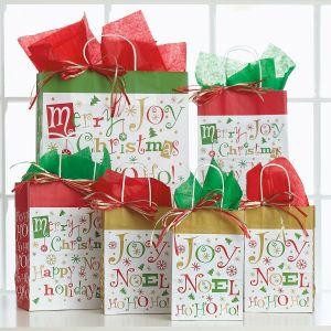 Christmas Typography Gift Bag Set