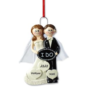 "Weddiing ""I Do"" Hand-Lettered Christmas Ornament"