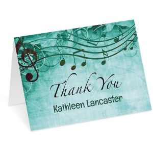 Sheet Music Aqua Thank You Note Cards