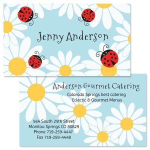 Personalized calling cards business cards current catalog ladybug daisy double sided business cards colourmoves Image collections