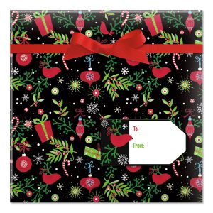Festive Holiday on Black Jumbo Rolled Gift Wrap