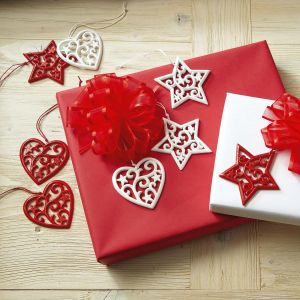 Red and White Stars and Hearts Gift Toppers