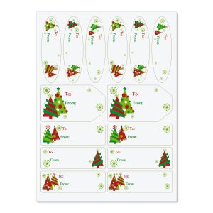 Graphic Christmas Tree Labels