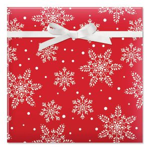 Snowflakes on Red Rolled Gift Wrap