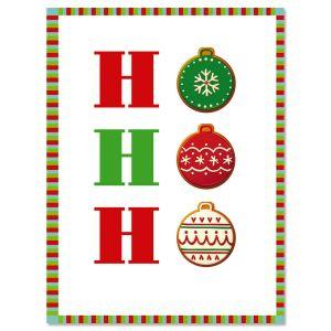 Ho, Ho, Ho Ornaments Note Cards