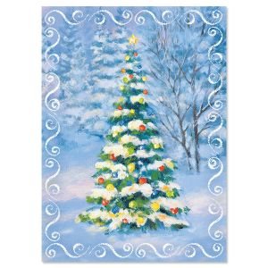 Snowy Tree Religious Christmas Cards