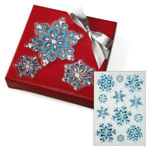 Blue & Silver 3-D Snowflake Stickers