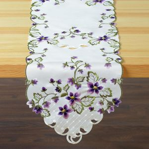 Purple Violets Table Runner