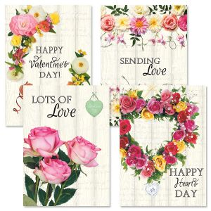 Roses on Wood Valentine Cards
