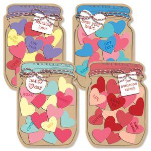 Diecut Jar of Hearts Valentine Cards