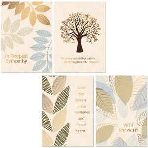 Deluxe Falling Leaves Sympathy Cards