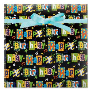 Black Birthday Party Jumbo Rolled Gift Wrap