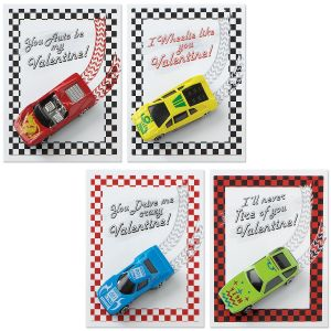 Racing Cards with Metal Cars Kids Valentines