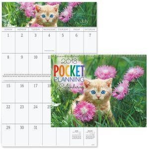 2018 Cats Big Grid Calendar with Pockets