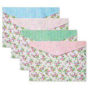 Vintage Pink Flowers Snap Folders