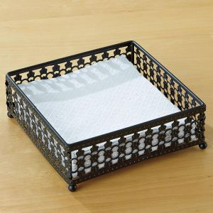 Black Pattern Napkin Holder