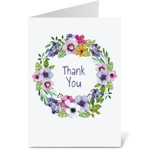 Spring Blossoms Wreath Thank You Note Cards