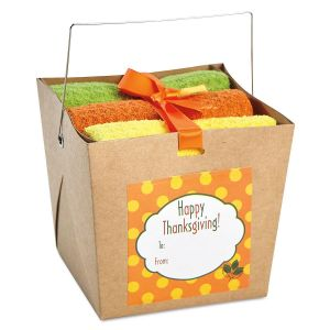 Autumn Dishcloths in a Takeout Box