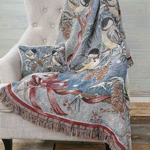 Winter Chickadee Decorative Throw